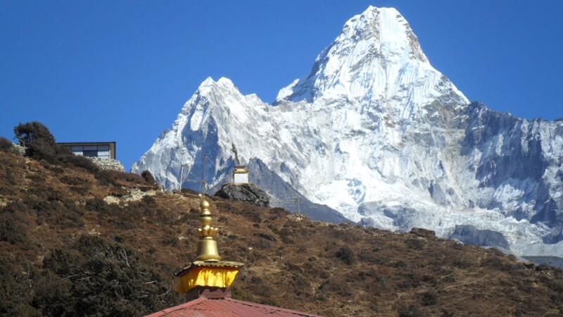 Lovely mountain Ama Dablam 6812 m with Pangbuche Monastery